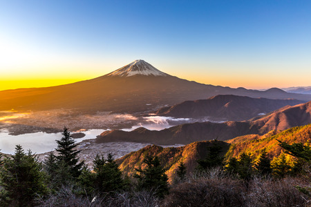 Mountain Fuji in winter sunrise