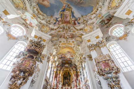 unesco world cultural heritage: Interior of Pilgrimage Church of Wies near  Fussen Bavaria, Germany