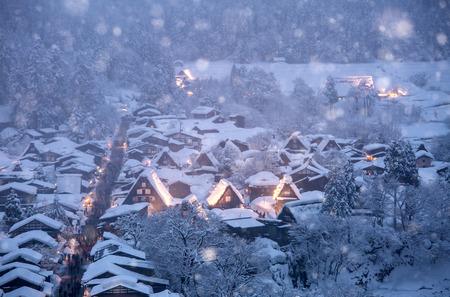 lightup: Shirakawago light-up with Snowfall Gifu Chubu Japan with snowfall