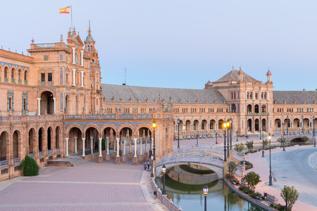 sevilla: Spanish Square espana Plaza in Sevilla Spain at dusk Stock Photo