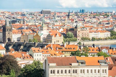 Aerial view of Prague cityscape, Czech Republic