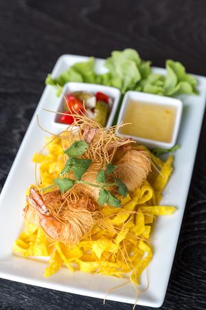 deep fried: Shrimp deep fried with vegetable Stock Photo