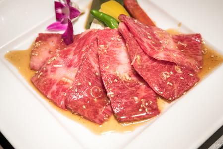 white backing: wagyu beef rib premium Japanese  meat BBQ yakiniku Stock Photo