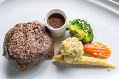 charbroiled: Grilled beef steak tenderloin with vegetable Stock Photo