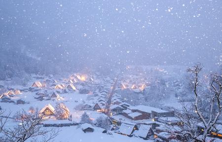 shirakawa go: Shirakawago light-up with Snowfall Gifu Chubu Japan with snowfall