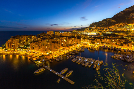Fontvieille Monaco Harbor Monte carlo at night