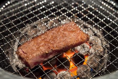 white backing: grilled Freshness Japanese wagyu Sirloin meat BBQ yakiniku
