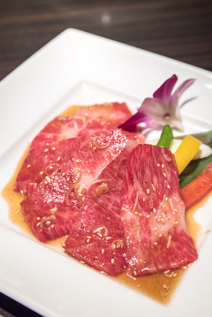white backing: Freshness Japanese wagyu beef rib meat BBQ yakiniku