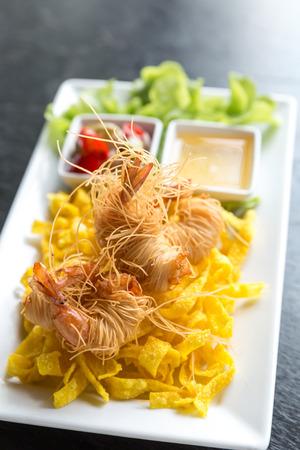 prepared shellfish: Shrimp deep fried with vegetable Stock Photo