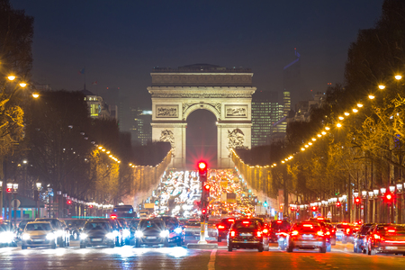 champs elysees quarter: Arc of Triomphe Paris, Champs-Elysees France at night