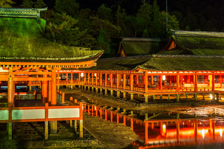 Miyajima, Hiroshima, famed floating Shrine temple  itsukushima Japan at dusk Editorial