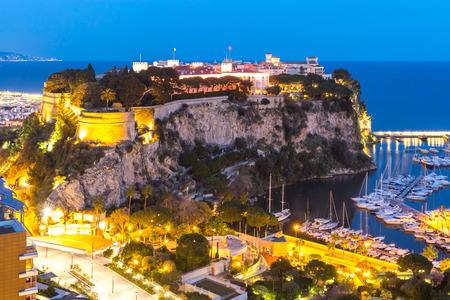 Monte carlo Rock of Monaca at night French Riviera cote dazur