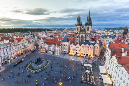 old town square: Old Town Square at dusk  Prague, Czech republic Stock Photo