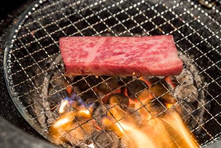 meat grill: grilled Freshness Japanese wagyu Sirloin meat BBQ yakiniku