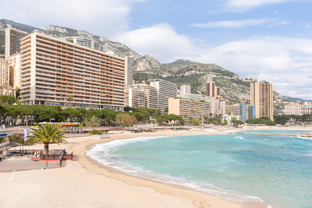azur: Beautiful Monte Carlo beach, Monaco. Azur coast French Riviera
