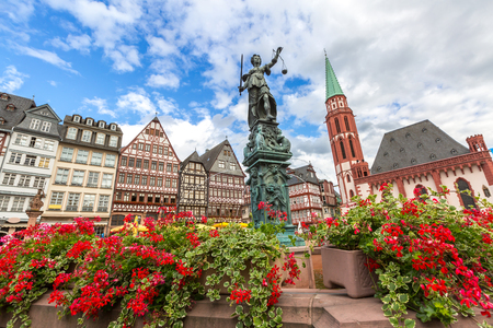 justitia: Frankfurt old town with the Justitia statue. Germany