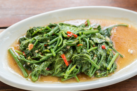 glory: Stir Fried morning glory Thai Water Spinach Stock Photo