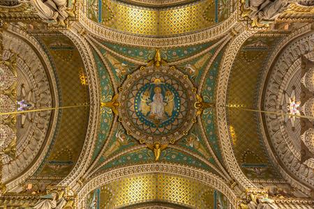 lyon: Lyon Notre-Dame de Fourviere Basilica Church France Editorial