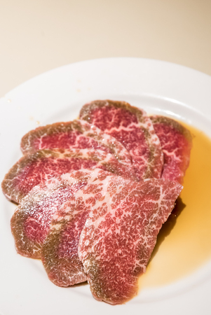 white backing: Freshness Japanese wagyu Beef BBQ yakiniku