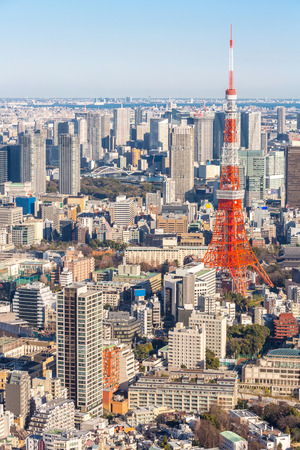 travel japan: Tokyo Tower with skyline in Japan Stock Photo