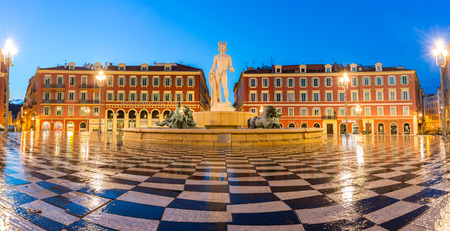 soleil: The Fountain du Soleil on Place Massena square Nice, French Riviera, Cote dAzur, France Panorama