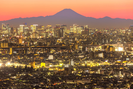 city landscape: Tokyo city aerial view and mountain fuji