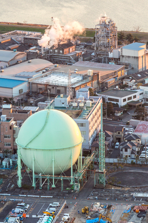 steel tower: aerial view of petrol industrial zone Stock Photo