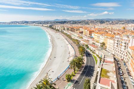 riviera: Nice Cote dAzur Riviera France with mediterranean beach sea Stock Photo