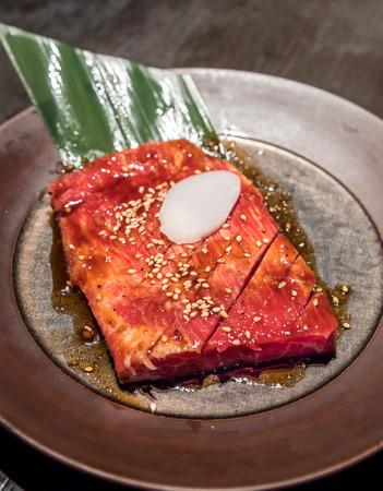 white backing: Freshness Japanese kalbi wagyu  meat BBQ yakiniku Stock Photo