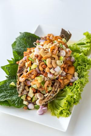 deep fried: deep fried fish with salad Thai style