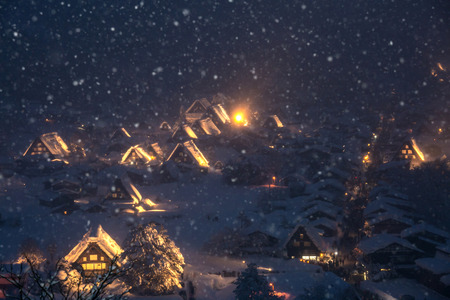 lightup: Shirakawago light-up with Snowfall Gifu Chubu Japan with snowfall