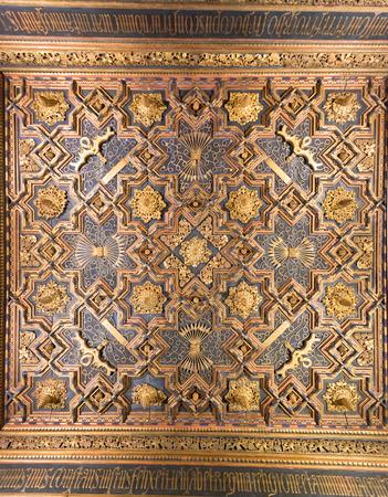 pilasters: ceiling of aljaferia alcazar of Zaragoza Spain