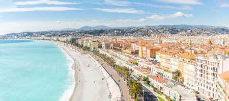 azure coast: Nice Cote dAzur Riviera France with mediterranean beach sea Panorama