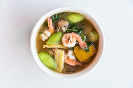 vegetable soup: Thai Spicy Mixed Vegetable Soup with Prawns, on white background
