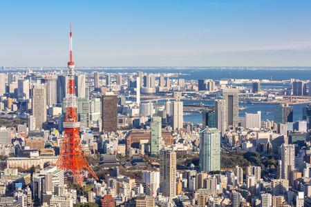 mori: Tokyo Tower with skyline in Japan Editorial