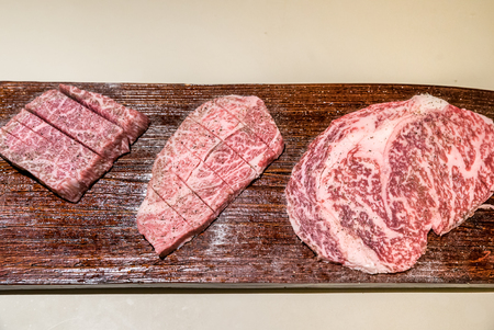 white backing: Freshness Japanese wagyu A5 Beef BBQ yakiniku