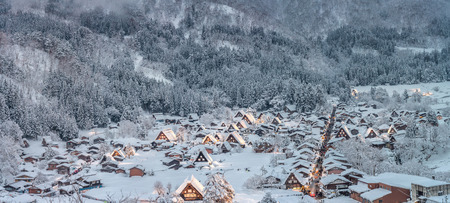 chubu: Shirakawago light-up with Snowfall Gifu Chubu Japan with snowfall