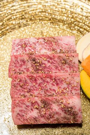 white backing: Freshness Japanese wagyu Sirloin meat BBQ yakiniku Stock Photo