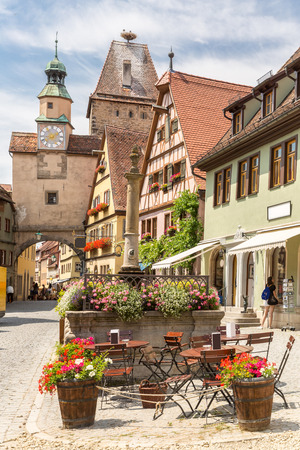 der: Rothenburg ob der Tauber historic town downtown in Rothenburg ODT , Franconia, Bavaria, Germany Stock Photo