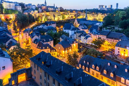 Luxemburg-Stadt Sonnenuntergang Ansicht von oben in Luxemburg