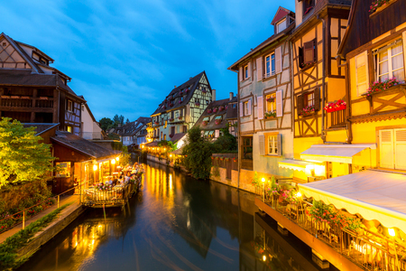 colmar: Colmar town France at Night Stock Photo