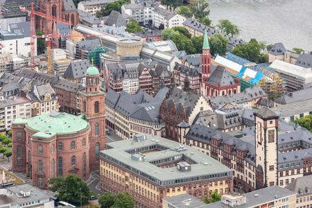 frankfurt stock exchange: Germany Frankfurt am main skyscrapers aerial view