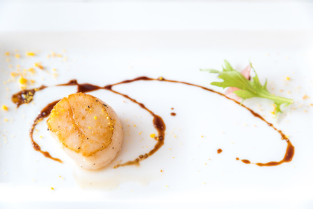 hotate: Grilled fried scallop, gourmet japanese cuisine.