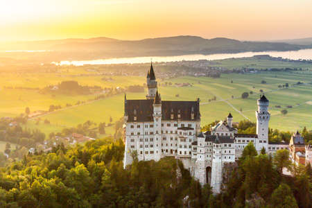 schwangau: Beautiful summer romantic view of the Neuschwanstein castle at Fussen Bavaria, Germany