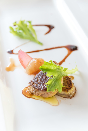 foie gras: Fried Foie gras grilled, gourmet French cuisine. Stock Photo