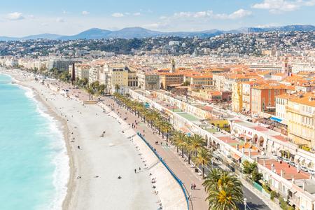 cote: Nice Cote dAzur Riviera France with mediterranean beach sea Stock Photo