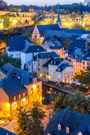 city view: Luxembourg City sunset top view in Luxembourg Stock Photo