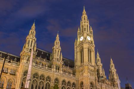 cityhall: Vienna Cityhall at night Austria Stock Photo