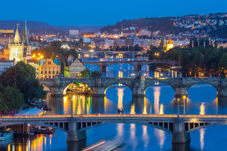 praha: Prague Czech Republic, view of Bridges on Vltava in Praha at Night