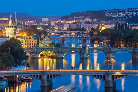 praha: Prague Czech Republic, view of Bridges on Vltava in Praha at Night